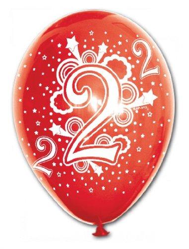 Ballons World Store - Palloncino in lattice stampato sul globo in serigrafia con stampa standard 'Numero 2', colorazione pastello, dimensione cm 30/12'