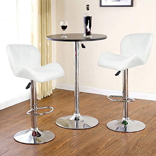Barkruk, 2 stuks, van leer, draaibaar, stoelen, persluchtstoel, stang, verstelbaar, wit Wit