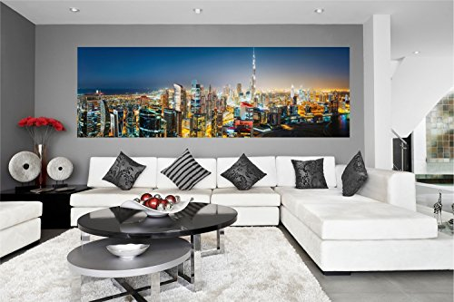 Skyline Dubai City Nacht XXL Panorama Wandtattoo Bild Poster Aufkleber W0043 Größe 200 cm x 66 cm