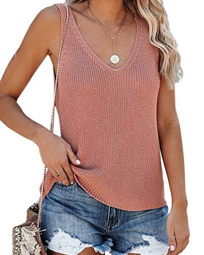 Tutorutor Womens Sleeveless V Neck Sweater Vest Summer Knitted Loose Cami Tank Top