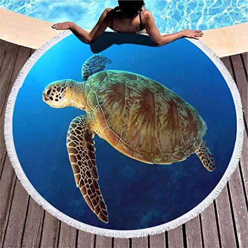 Kuidf Sea Turtle Round Beach Towel Blanket, Green Swimming Blue Oceangreat Barrier Microfiber Beach Towel, Lightweight Picnic Carpet Towel for Kids Women Men, 59 Inches