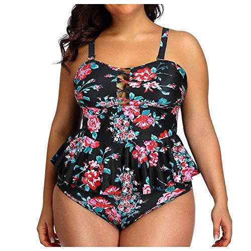 YANFANG Ropa De Playa para Mujer BañAdor Bikini Conjunto Tankini con Espalda Tiras Y Estampado Talla Grande Trajes BañO Dos Piezas Traje BañO,Conjunto,2-Rojo,XL