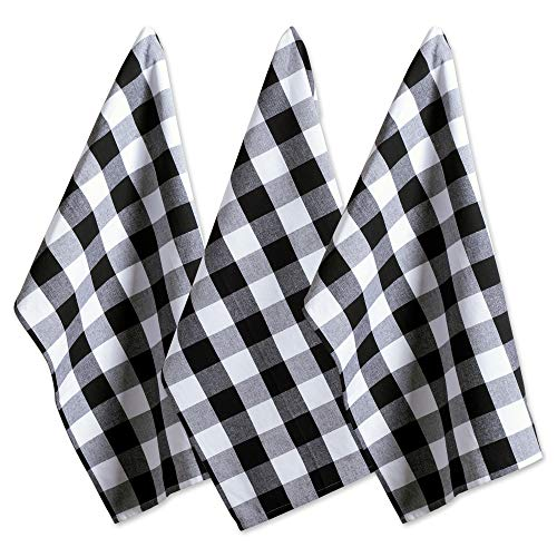 DII Cotton Buffalo Check Plaid Dish Towels, (20x30', Set of 3) Monogrammable Oversized Kitchen Towels for Drying, Cleaning, Cooking, & Baking - Black & White