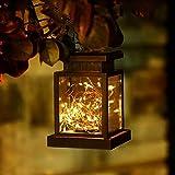 Lanterna solare a 30 LED, per esterni, con catena di luci, lampade solari per esterni, da appendere, luci da giardino a LED, per veranda/prato/cortile/vialetto (bianco caldo).