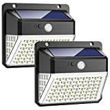 Luce Solare Esterno, Trswyop 82 LED Lampada Solare con Sensore di Movimento 2000mAh Illuminazione Solare LED Impermeabile Luci Solari da Parete con 3 modalità per Giardino【2 Pezzi】