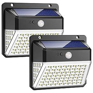 Luz Solar Exterior, 82 LED Trswyop Foco Solar Exterior Gran Ángulo 270º, Lámpara Solar Exterior Impermeable 3 Modos y Sensor de Movimiento para Jardín, Patio, Garaje, Camino [2 Paquete]