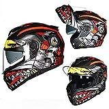 T.M.R.W. Clothing Klapphelme,Bluetooth-Helm, Integralhelm, Modularer Motorradhelm, Anti-Fog-Doppellinsen-Sonnenblende, Mit Bluetooth-Headset,Unisex, DOT/ECE-Zertifizierung,Motocrosshelme