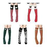 Isuper 5 Paire Genoux de Chaussettes Pour Fille Confortable Permeabilite Haute Socquette Fillette en Coton