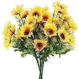 HUAESIN 4pcs Tournesol Artificiel Fausses Fleur Jaune Fleurs Artificielles en Soie Décoration Bouquet pour Mariage Maison Balcon Chambre