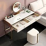 Juego de escritorio con espejo iluminado y 2 cajones, tocador de maquillaje con espejo de atenuación de pantalla táctil