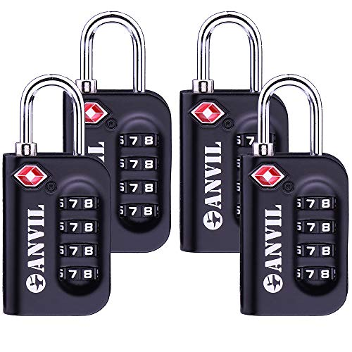 TSA Luggage Locks - 4 Digit Combination Steel Padlocks - Approved Travel Lock...