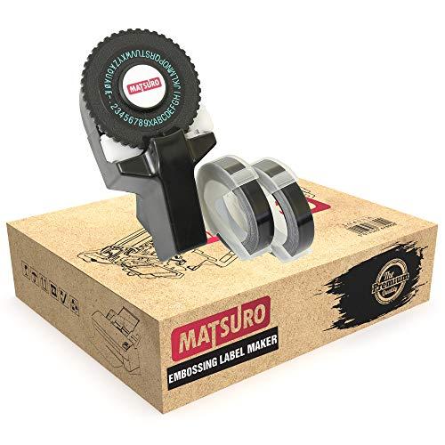 Matsuro Original | Mini SCHWARZ 3D Etikettenprägegerät M-101 mit 3 SCHWARZ Etiketten | Praktischer manueller DIY Organizer mit 43 Symbolen | Dreh und Klick System | Drucken und Schneiden