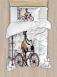 ABAKUHAUS Teen Zimmer Funda Nórdica, Chica Joven en París, Decorativo, 2 Piezas con 1 Funda de Almohada, 130 cm x 200 cm, Brown Castaño Castaño