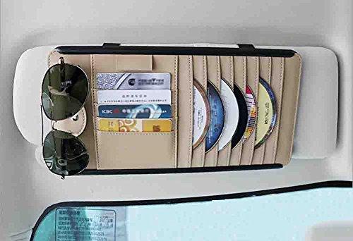 XIAOYA Multifunctionele Auto Zon Visor Opbergtas, Draagbare In-Auto Organisator, CD DVD Bril Card Pen Portemonnee Houder Clip Tas Hoge Kwaliteit Leer (2 Pack), Beige