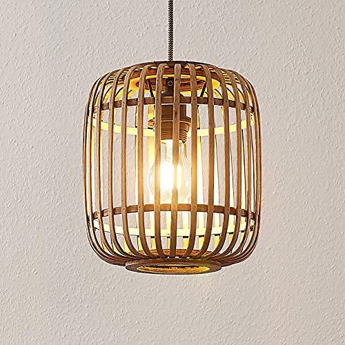 Lámpara colgante 'Marly' (Escandinavo) en Marrón hecho de Madera e.o. para Salón & Comedor (1 llama, E27, A++) de Lindby | lámpara colgante de madera, lámpara colgante, lámpara, lámpara de techo