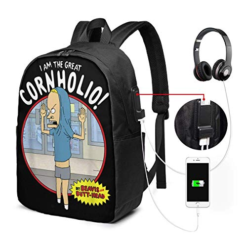 Lawenp Beavis and Butthead I Am The Great Cornholio Laptop Backpack 17 Inch College School Backpack with USB Charging Port Casual Daypack for Travel