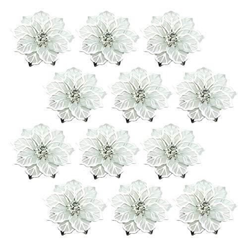 AUTUUCKEE Sostenedor de la servilleta de la flor de la malla 3D de metal tachonado diamante anillo hebilla (plata, tamaño: 12PCS)