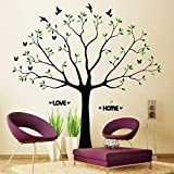 Family Tree Wall Decal with Butterflies and Birds Photo Tree Wall Decal Vinyl Wall Art Photo Frame Tree Stickers Living Room Home Decor Wall Sticker with Green Leaves