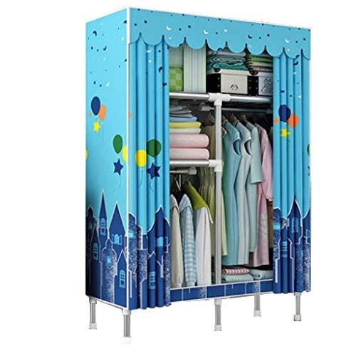 QIFFIY Armario simple para armario, armario de tela, tubo de acero, tela de almacenamiento, todo el marco de acero para colgar gabinete de tela gruesa (color: A, tamaño: 88 x 46 x 175 cm)