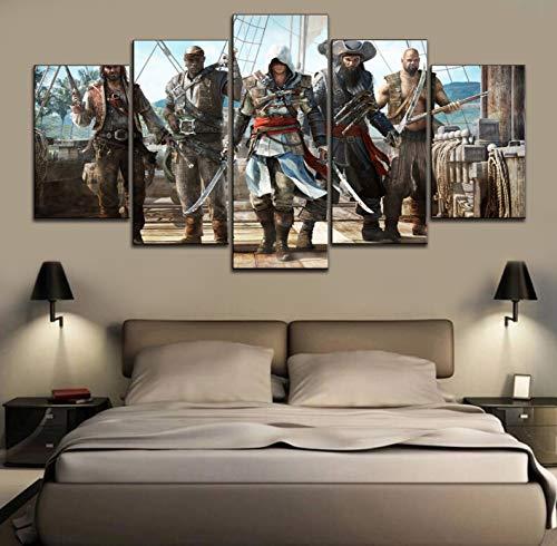 Hochwertige Leinwand gedruckt 5 Panel-Spiel Assassin'S Creed Iv Black Flag Gemälde moderne Wandkunst Home dekorative Poster(Frameless size3)