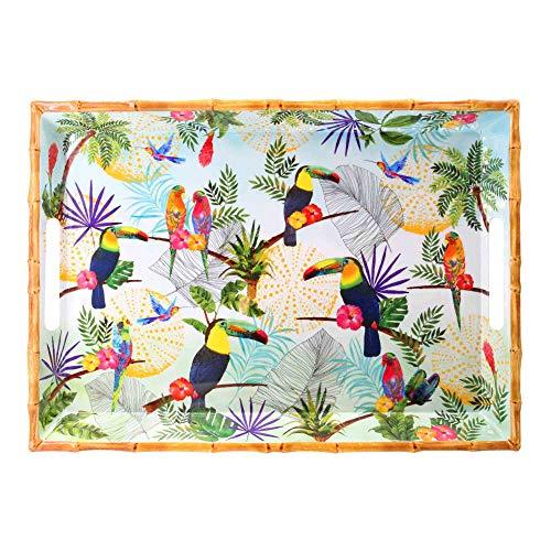 Les Jardins de la Comtesse – Bandeja rectangular grande con asas de melamina pura – Contour Bambú – Toucanes de Río – 50 cm – Multicolor – Vajilla Quasi-irrompible MelARTmine