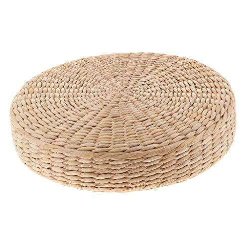 Tubayia Cojín redondo de paja natural, cojín japonés, cojín de suelo para yoga y meditación (30 x 30 x 6 cm)
