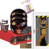 Five Nights at Freddy's Party Supplies Pack Serves 16: Snack/Dessert Plates Beverage Napkins Cups Table Cover and Door Cover with Birthday Candles (Bundle for 16)
