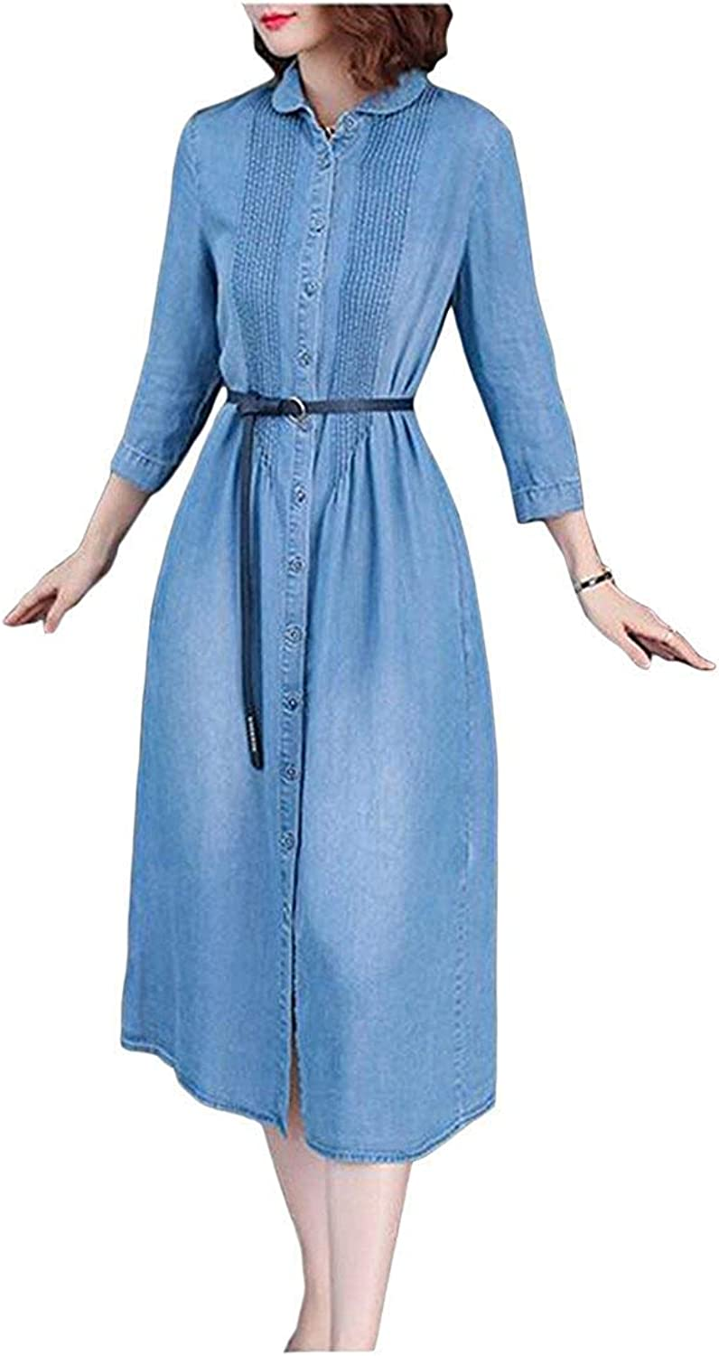 Joyccu Women's Casual Jean Denim 3 4 Sleeve Button Down Pleated Dress