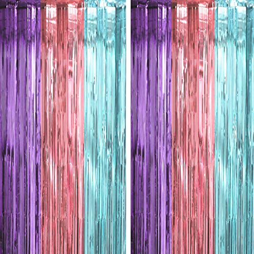Purple Pink Blue Tinsel Foil Fringe Curtains - Under The Sea Baby Shower Birthday Photo Backdrops Wedding Summer Beach Pool Ice Cream Party Decor Photo Booth Props Backdrops Decorations, 2PC