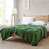 """Ponvunory Flannel Fleece Plush Blanket Throw Size(50""""x60"""", Forest Green) - Super Soft Warm Lightweight Microfiber Blanket for Chair, Sofa, Couch, Camping, Travel"""