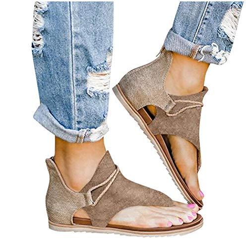 Sandals for Women Platform Gibobby Women Super Posh Gladiator Comfy Sandals, Women Flat Sandals with Zipper Summer Matching Pants, Skirts