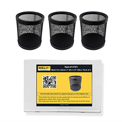"""Rely+ Mesh Pen and Pencil Holder (4"""" Height)- Black (Pack of 3) Pen Holder - Pencil Holder for Desk - Metal Mesh Office Desk Pen Organizer Holders - Medium Sized Black Pen Cup Pencil Cup"""
