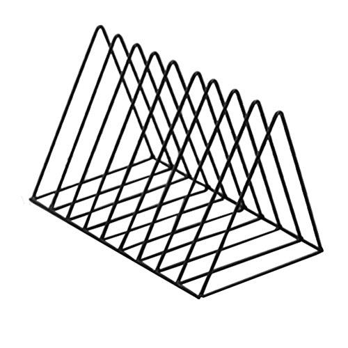 VOSAREA Schreibtisch Bücherregal Metall Dreieck Form Tischregal Organizer (Schwarz)