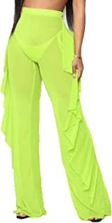 Doqcey Women's Perspective Sheer Mesh Ruffle Pants...