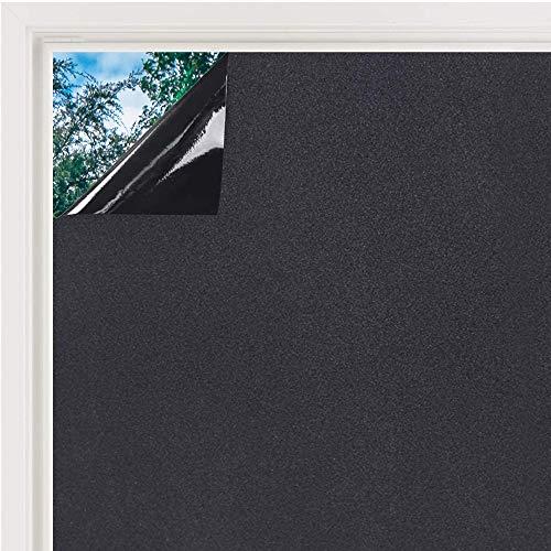 Fensterfolie Milchglasfolie Sichtschutzfolie Selbstklebend Folie Fenster Scheibenfolie Blickdicht Statische Privatsphäre Schutzfolie Matt Für Bad, Büro, Wohnzimmer (Schwarz, 60 x 200 cm)