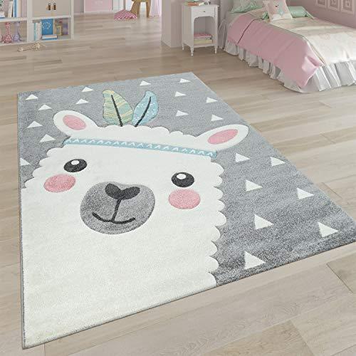Paco Home Teppich Kinderzimmer Grau 3-D Motiv Alpaka Design Pastellfarben Weich Robust, Grösse:80x150 cm