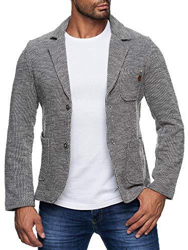 Reslad Herren-Sakko Sportlich Jakett Anzug Jacke Slim Fit Freizeit Blazer-Herren RS-1421 Grau XL