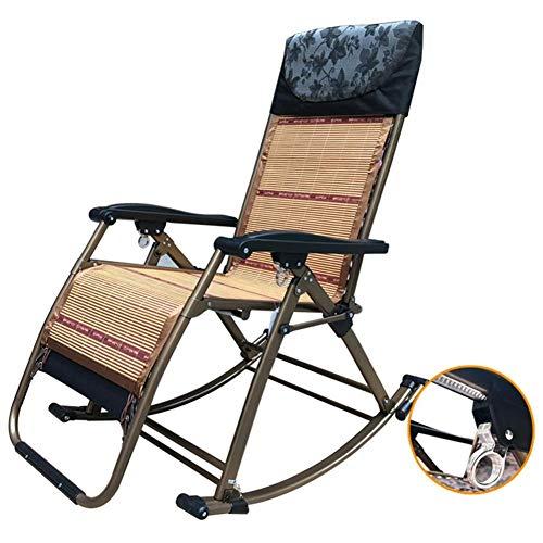 HXCD Klappbarer Schaukelstuhl mit Bambuskissen, Patio Pool Deck Rasen im Freien Tragbarer Schwerelosigkeitsstuhl, Unterstützung 440 lbs, schwarz