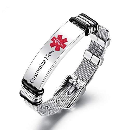 LiFashion Kostenlose Custom Gravur Solide Edelstahl Medical Alert Allergie Awareness Armband Einstellbare Allergien Notfall ID Armreif für Männer,Frauen,Kinder