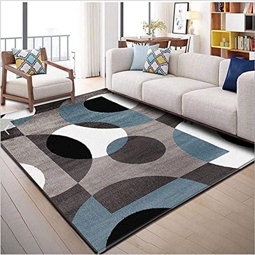 GONGFF Alfombras de área para sala de estar moderna alfombra para decorar el hogar antideslizante Mat negro gris blanco claro azul semicírculo geometría 180 x 260 cm (6 pies x 9 pies)