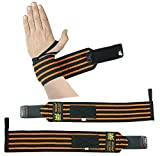 Grip Power Pads Deluxe Wrist Wraps 13' Long (1 Pair /2 Wraps) for Weight Lifting Training Wrist Support Cotton Wraps Gym Bandage Straps Orange