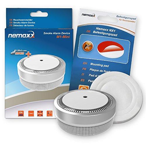 Nemaxx M1-Mini Rauchmelder - sensibler, photoelektrischer Rauchwarnmelder mit Lithiumbatterie Typ DC3V nach DIN EN14604 & VDs - Silber + NX1 Befestigungspad