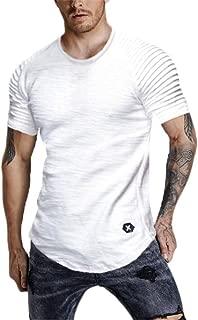 Mens Tops Casual Short Sleeve T-Shirt Hipster Crew Neck Summer Shirt Curved Hem Tee