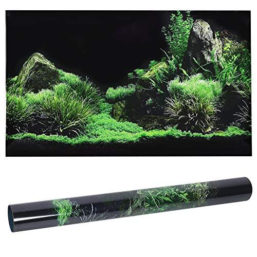 GOTOTOP Aquarium Poster, Meeresboden Wasser Gras Muster Aquarium Hintergrund Poster PVC Kleber Aufkleber Aquarium Tapete Dekoration(61 * 40cm)