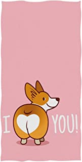 Naanle Cute Funny I Love You Heart Welsh Corgi Dog Valentine's Design Soft Guest Hand Towels Multipurpose for Bathroom, Hotel, Gym and Spa (16
