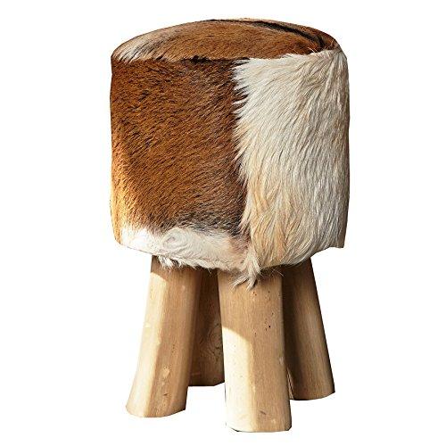 Invicta Interior Design Sitzhocker Hide mit echtem Ziegenfell und Teakholz Echtfell Hocker
