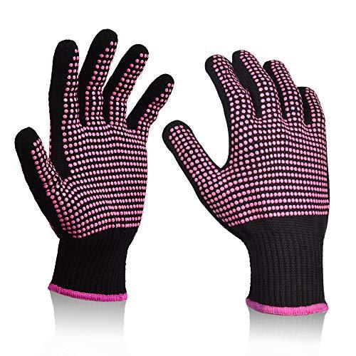 Sopito 2 piezas de guantes resistentes al calor para herramientas para el cabello Varita de hierro rizador
