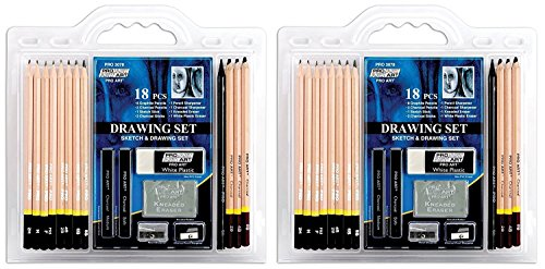 Pro Art lLnIJN 18-Piece Sketch/Draw Pencil Set, 2Pack of Pencil Set