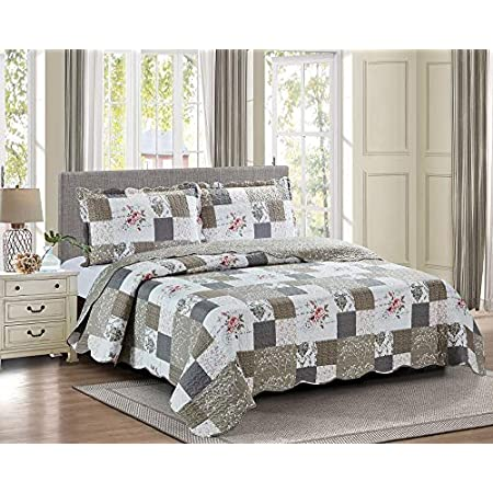Brilliant Sunshine Rose and Toile Patchwork, 3-Piece Quilt Set, Reversible Bedspread, Lightweight Coverlet, All-Season, King, Rose Gray