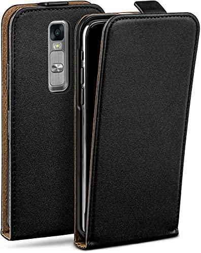 moex Flip Hülle für LG Zero/LG Class - Hülle klappbar, 360 Grad Klapphülle aus Vegan Leder, Handytasche mit vertikaler Klappe, magnetisch - Schwarz